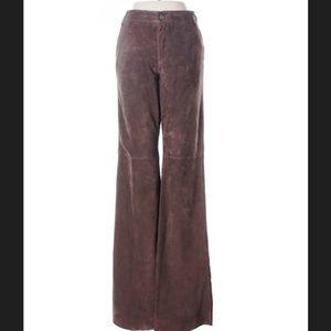 J. CREW Chocolate Brown Suede Flare Pants 8 EUC